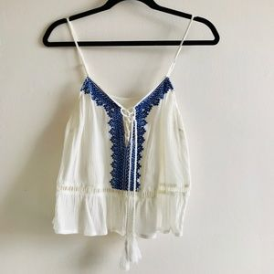 Lulu's Grecian Blue Embroidered Boho Strappy Tank